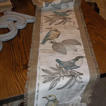 Burlap and  Bird printed Duck Table Runner, french country runner, burlap table covering, tablecloth