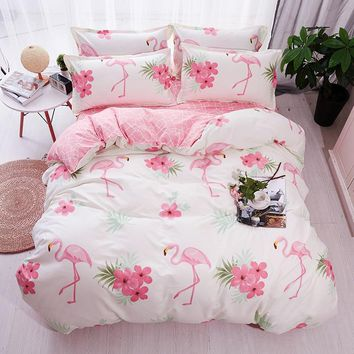HOT Sale Fashion Luxury pink flamingos Cartoon Printing Double king queen Pattern Bedding sets Duvet cover Flat sheet 25