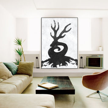 Abstract deer antler Painting, handmade original Painting, Abstract Canvas Painting, Abstract painting Canvas Art, Black and White wall art