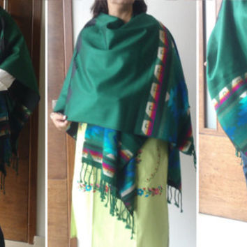 Mexican Shawl Scarf Rebozo Poncho, Folk Fabric decorative Blanket