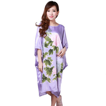 Hot Sale Purple Summer Chinese Women's Nightgown Silk Rayon Bath Robe Dress Kimono Gown Flower Sleepwear Plus Size 6XL S0110
