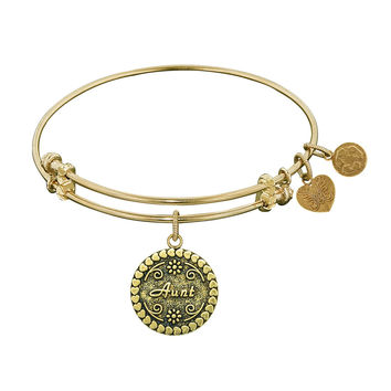 "Angelica Collection Antique Stipple Finish Brass ""aunt"" Expandable Bangle"