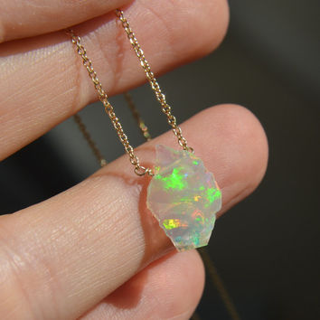 Ethiopian Opal Slice Necklace
