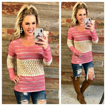 Striped Crochet Middle Top