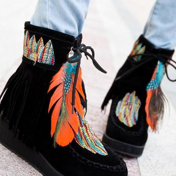 New Women Black Round Toe Wedges Feather Embroidery Fashion Ankle Boots