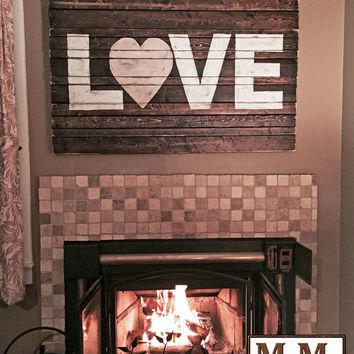LOVE Wooden Sign - Custom Sized Rustic Distressed Charleston Hanging Wall Decor