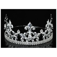 Men's Homecoming Imperial Medieval Fleur De Lis Silver Prince / King Crown