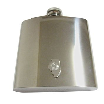 Illinois State Map Shape and Flag Design 6oz Flask