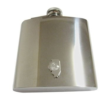 Illinois State Map Shape and Flag Design 6 Oz. Stainless Steel Flask