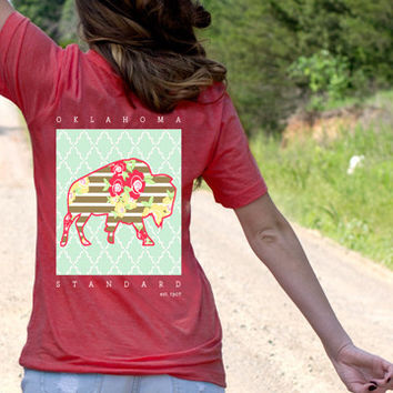 Red Oklahoma Standard with Floral Buffalo on back