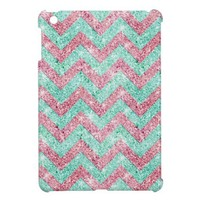Chevron Pattern, pink & teal glitter photo print iPad Mini Case from Zazzle.com
