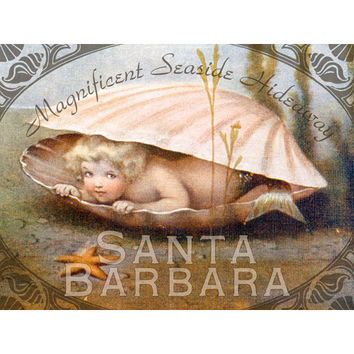 Personalized Santa Barbara Seashell Wood Sign