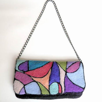 "art clutch - felted wool purse - ""modern fantasy"""