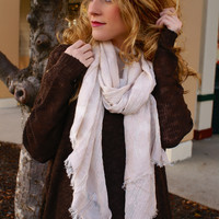 Now Or Never Scarf: Cream/Blush