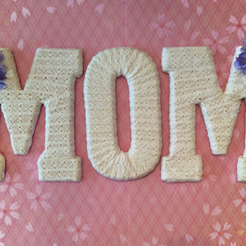 Handcrafted Decorated Letter Set-For Mom- by Tightly Wound Designs