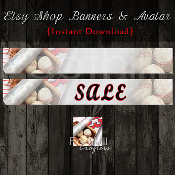 INSTANT DOWNLOAD - Etsy Shop Baseball Sport Banners and Matching Avatar - Graphic Design Service - Digital Files - Base Ball - Sports Team