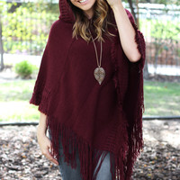 Just Right Poncho - Maroon