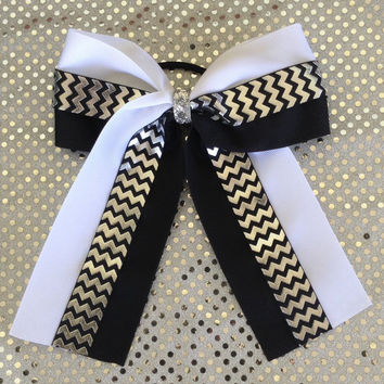 Black and White Chevron Foil 6 inch wide Softball Hair Bow with Elastic