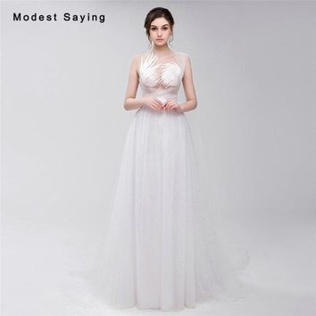 Fairy Sheer White Ball Gown Lace Pregnant Photography Wedding Dresses 2017 Women Long Plus Size Bridal Gowns robe de mariee