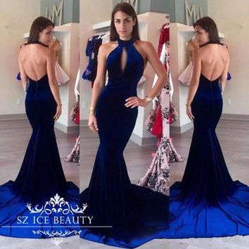 Royal Blue Halter Backless Formal Evening Dress Long Mermaid Keyhole Neck Prom Dresses Gowns 2017 Cheap African Robe De Soiree