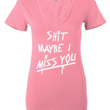 "Louis Tomlinson ""Shit Maybe I Miss You"" Women's V-Neck T-Shirt"