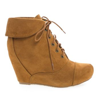 Carmela24 Tan Bamboo, Almond Toe Lace Up Folded Cuff Hidden High Wedge Ankle Bootie