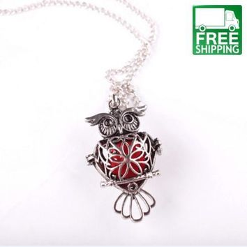Aromatherapy Silver Owl Hollow Necklace