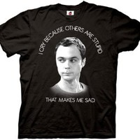 Sheldon I Cry Because Others Are Stupid Black Adult T-shirt Tee (Small)
