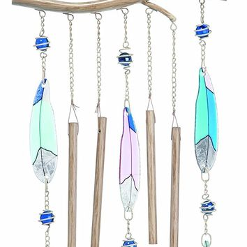 Metal and Glass Feather Window Chime -- 25-3/4-in