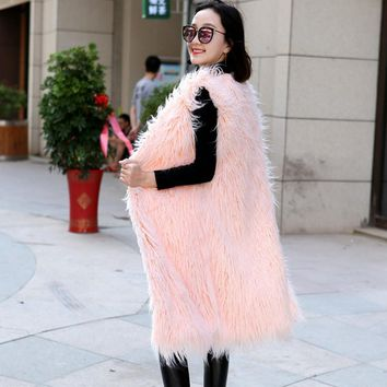 Autumn fall and winter long faux fur vest waistcoat for women solid grey white pink black women's shaggy fluffy vests waistcoats