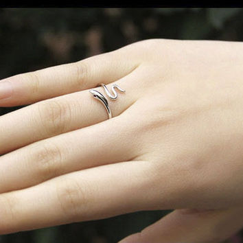 925 Sterling Silver Adjustable Snake Ring