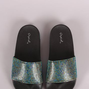 Qupid Rhinestone Open Toe Slide Sandal