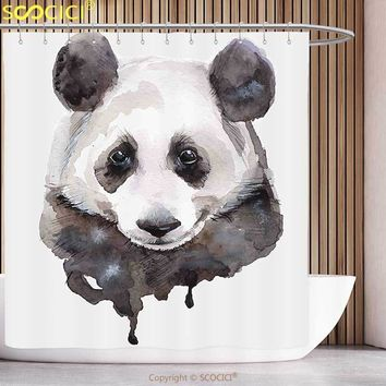 Funky Shower Curtain Animal Watercolor Cute Panda Bear Animal Asian Wildlife Zoo Theme Artwork Image Beige White and Black