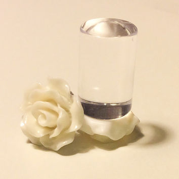 00g, 0g, 2g, 4g, 6g, 8g White Rose Plugs, Wedding Plugs, White Plugs, Bridal Jewelry, Bridesmaids, Formal Wear, Special Occasion