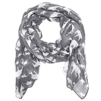 Cozy by LuLu - Trunk Up Elephant Scarf in Gray and White