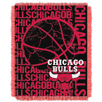 Chicago Bulls NBA Triple Woven Jacquard Throw (Double Play Series) (48x60)