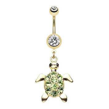 Golden Turtle Sparkle 316L Surgical Steel Belly Button Ring