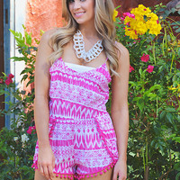 In The Pom Of Your Hand Romper - Fuchsia