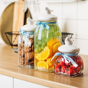 Country Farmhouse Kitchen Style Ribbed Glass Storage Containers With Ceramic Lid