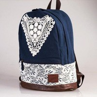 Blue Canvas Crocheted Lace Backpack
