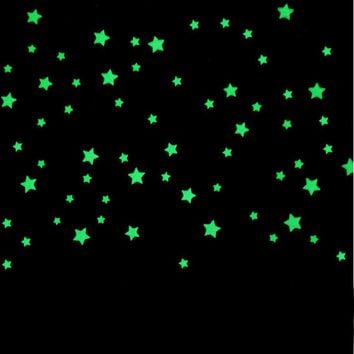100PCs Kids Bedroom Beautiful Fluorescent Glow In The Dark Stars Wall Stickers