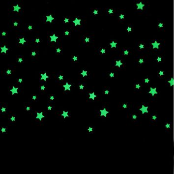 100PCs Fluorescent Glow In The Dark Stars Wall Stickers