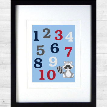 Numbers in Light Blue Red Gray and Navy Nursery Decor Baby Girl CUSTOMIZE YOUR COLORS 8x10 Prints Nursery Decor Art Baby Room Decor Kids