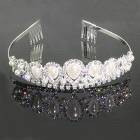 Silver Plate Princess Wedding Party Crystal Pearl Hair Band Headband Tiara Crown
