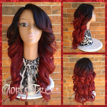 ON SALE // Rihanna Inspired Lace Front Wig,  Long Curly Wig, 100% Human Blend Wig,  Red Ombre Wig, Bombshell Wig /ATTRACTIVE (Free Shipping)
