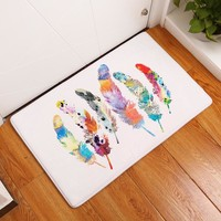2017 New Home Decor Feather Print Carpets Non-slip Kitchen Rugs for Home Living Room Floor Mats Bathroom Carpets