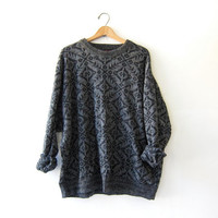 vintage tribal sweater. oversized sweater. textured gray black pullover. 4X