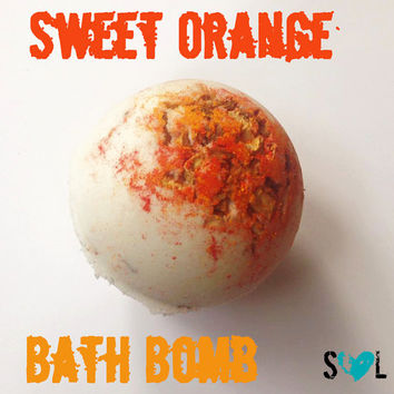 Sweet Orange Bath Bomb, Orange Bath Bomb, Jumbo Bath Bomb, Colorful Bath Bomb, Orange Peels