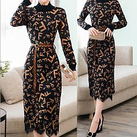 FENDI Trending Women Stylish Long Sleeve F Letter Print Temperament Lace Knit Stitching Dress