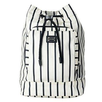 Dolce & Gabbana Black White Striped Women's Drawstring Backpack Bag